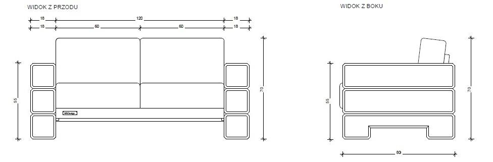 Sofa 2-osobowa, model 18x180