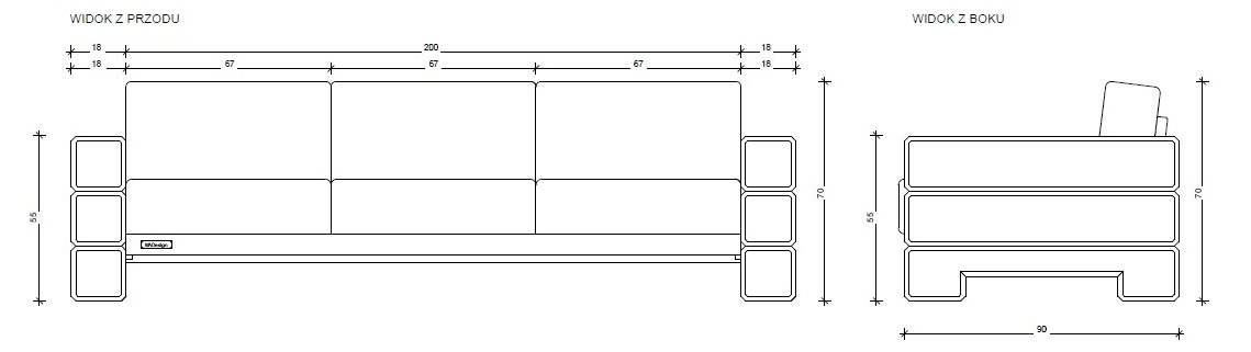 Sofa 3-osobowa, model 18x200