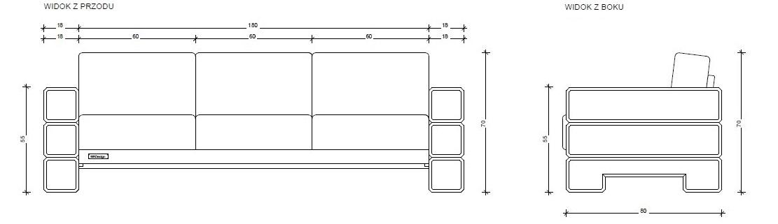 Sofa 3-osobowa, model 18x180